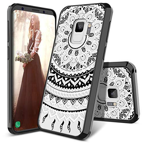 SmartLegend Galaxy S9 Case, Girls Women Slim Anti-Slip Clear Hybrid Hard PC + TPU Bumper Mandala Floral Shockproof Full-Body Protective Phone Cover Compatible for Samsung Galaxy S9- Black