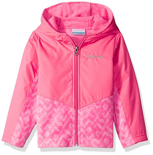 Columbia Little Girls' Toddler Steens Mt Overlay Hoodie, Camellia Rose Zig Zag, 2T