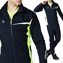 Fuerza Mens Premium Material Knit Fleece Track Jacket - Navy/Lime
