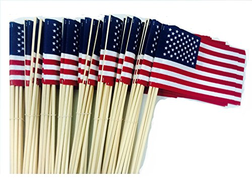 Lot of -100- 4x6 Inch US American Hand Held Stick Flags No Tip WindStrong Made in the USA
