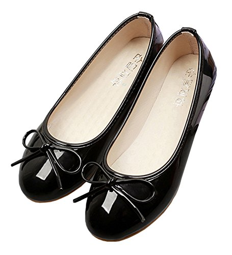 Women's Round Toe Flat Loafers Sweet Casual Shoes with Bow Black - 6
