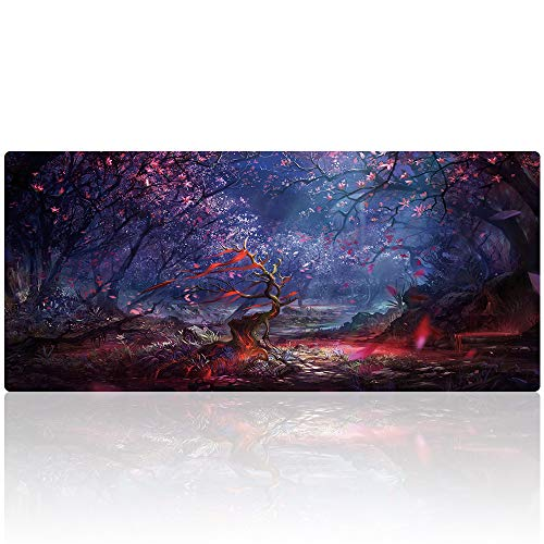 Gaming Mouse Pad Customized Extended Large Desk Mat 35.4x15.7 Inch Non-Slip Mouse Mat (90x40 Forest011)