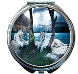 Rikki Knight White Tigers Design Round Compact Mirror