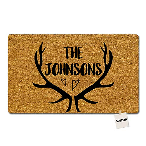 SGBASED Personalized Door Mat Custom Any Text/Name/Family Doormat Deer Antlers Mat Entrance Floor Decorative Rug Doormat Non-Woven Fabric (23.6 X 15.7 inches) ()