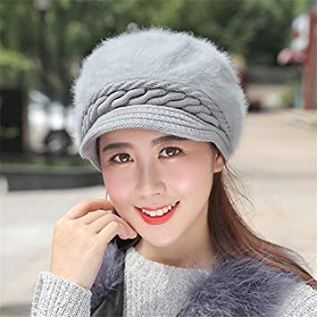 9f290cee5e01ac Amazon.com: Gold Happy Mink and Fox fur ball cap winter hat women hat girl knitted  hats skullies beanies thick female cap: Kitchen & Dining