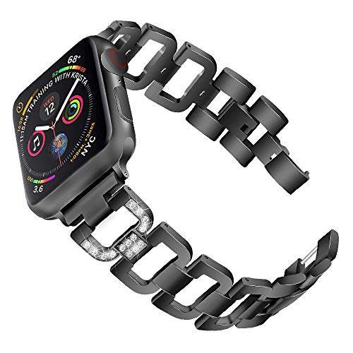 PUGO TOP Compatible with Iwatch Band 40mm Series 4 38mm Series 3 2 1 Women Stainless Steel Apple Watch Bracelet Band(38/40mm, Black)