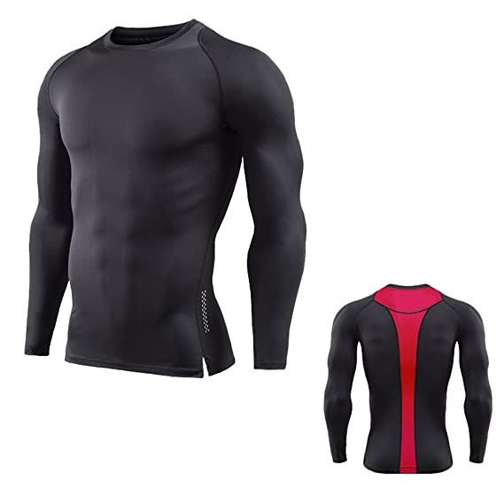 ZKOO Camisetas Deportivas Para Hombre Mangas Larga T Shirt Compresión Base Laye Fitness Deporte Secado Rápido Transpirable sJIsl5heY