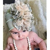 Green & Cream Newborn Headband, 0-12 Month Old, With Fabric Flower and Rhinestone