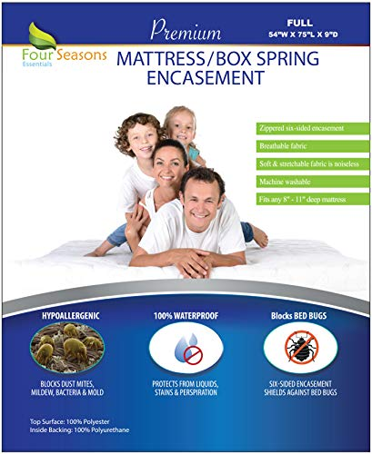 Full Size Mattress / Box Spring Cover (9 Depth) Bed bug Waterproof Zippered Protector Hypoallergenic Premium Quality Encasement Protects Against Dust Mites Allergens Vinyl-Free Breathable Noiseless