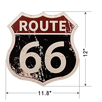"HANTAJANSS Route 66 Signs Vintage Road Signs for Home Decoration 11.5""x12"""