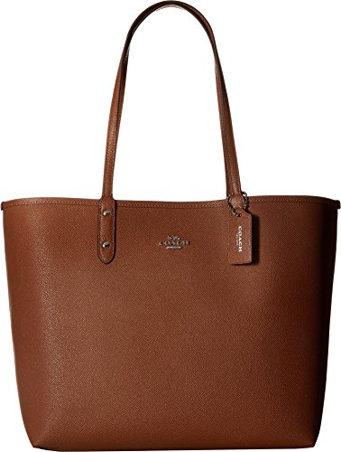 COACH Women's Solid Reversible City Tote Sv/Saddle Banana One Size