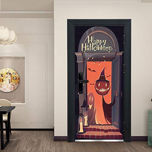 Minions Halloween Wallpaper (Halloween Door Sticker Wicked Pumpkin Happy Halloween Door Wallpaper Murals Wall Stickers Self-Adhesive Vinyl Removable Art Door DIY Home Poster)