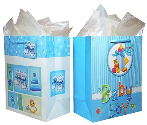 "Baby Boy Gift Bags with Tissue Paper (2 Pack) 10.5"" x 13"" x 5.5"" Large-Size Premium Quality for Baby Showers, Christenings and Birthdays"