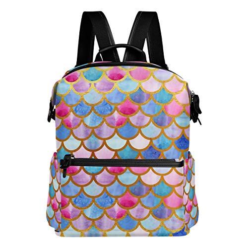 School Backpack Watercolor Mermaid Scales Shoulder Bag Student Bookbag