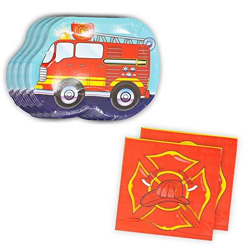 Fire Truck Shaped Plate & Napkin Sets (70+ Pieces for 32 Guests!), Firefighter Tableware Sets, Birthday - Shaped Plate Set