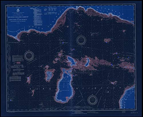 - Vintography NOAA Blueprint Style 18 x 24 Nautical Chart Beaver Island Group Including North Shore of Lake Michigan from WAUGOSHANCE Point to SEUL CHOIX Point 1928 Lake Survey 66a