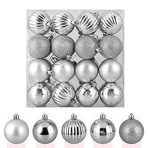 Zogin Adornos de Adornos navideños Bolas de árbol de Navidad inastillables Decoraciones Bola Colgante para decoración de Navidad (Plata, 32piezas-60mm)