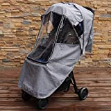 Baby Stroller Rain Cover Weather Shield Universal Size, Water-resistant, Windproof,Snow Protection,Ventilation,Gray