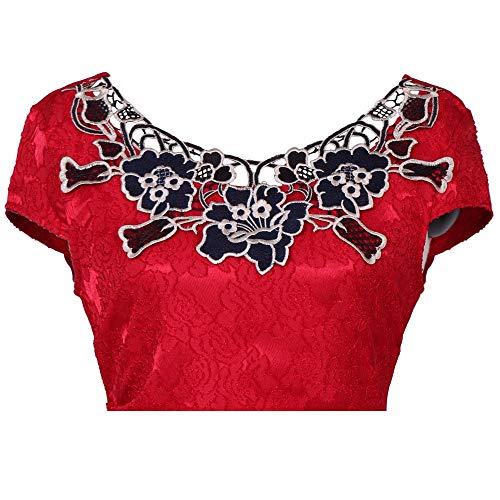 Abito Donna Da Melodycp Corta Manica Poliestere Vestito Blue Fiore Pizzo Ricamo Medium Red Rose Casual nnAxrT8