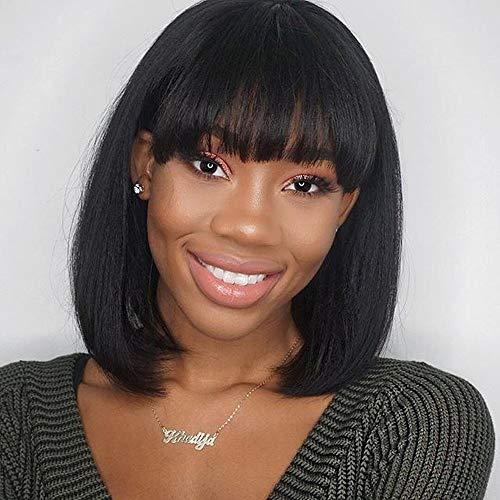 RUISENNA Women Black Bob Wigs Synthetic Yaki Hair Wigs Short Straight wig 100% Heat Resistant Fiber Wigs For African American