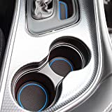 Custom Fit Cup, Door, Console Liner Accessories for Dodge Challenger 2015 2016 2017 2018 2019 11PC Set (Blue Trim)
