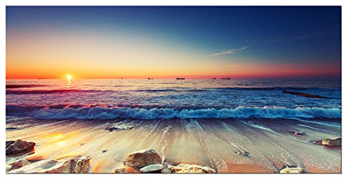Pyradecor One Panel Sea Waves Large Giclee Canvas Prints Modern Seascape Artwork Landscape Pictures Paintings on Stretched and Framed Canvas Wall Art for Living Room Home Decorations L by Pyradecor