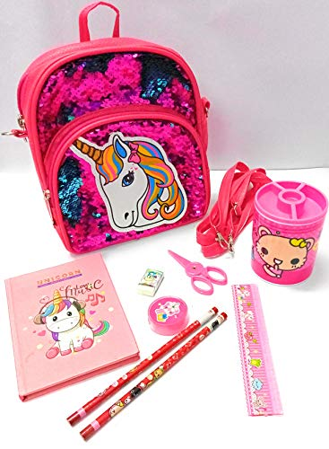 Tera13( Pack of 3 Items) Unicorn Sequence Bag for Girls/ Unicorn Diary for Girls/Stationary Set for Kids/Unicorn Bag for Girls/Unicorn Bag for School/ School Set for Girls