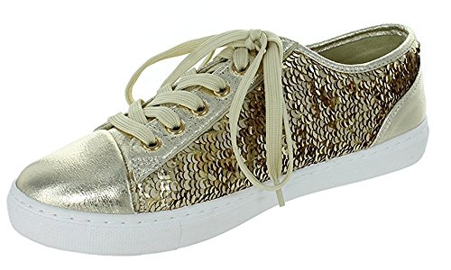 Only U Sequence Comfy Fashion Sneakers Glitter Metallic Lace Up Slip On (10, Gold)
