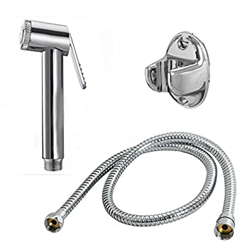 10x ABS Health Faucet With 1M Flexible Stainless Steel Tube & Wall Hook (Silver)