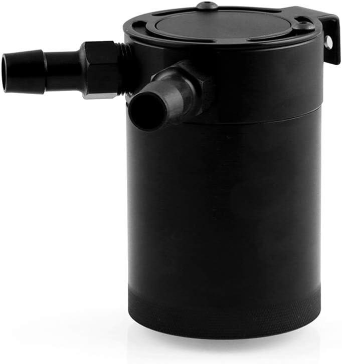 Busirde/Universal Racing Baffled 2-Port Oil Catch Can Tank Reservoir Black Air-Oil Aluminum Alloy Separator