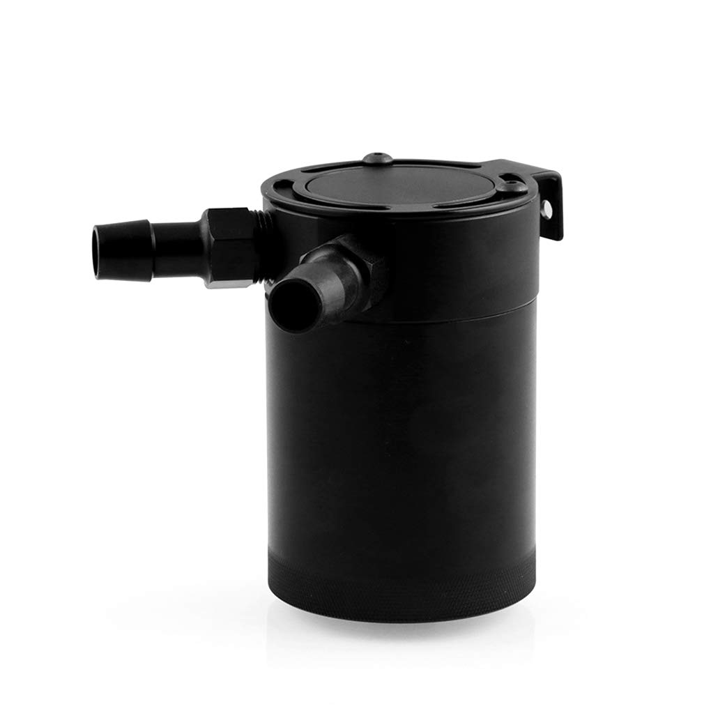 Universal Racing Baffled 2-Port Oil Catch Can Tank Reservoir Black Air-Oil Aluminum Alloy Separator Regard