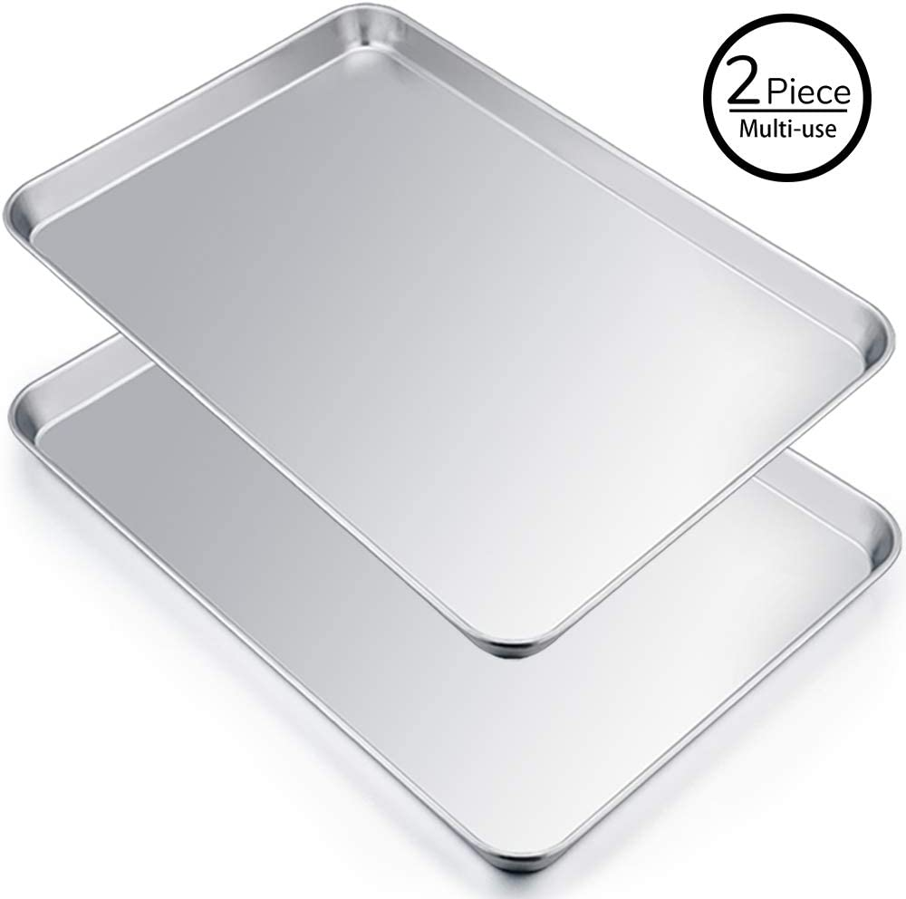 Extra Large Baking Sheet Set of 2, P&P CHEF Stainless Steel Bakeware Cookie Sheet Baking Pan, Rectangle 19.6''x13.5''x1.2'', Heavy Duty & Large Capacity, Oven & Dishwasher Safe