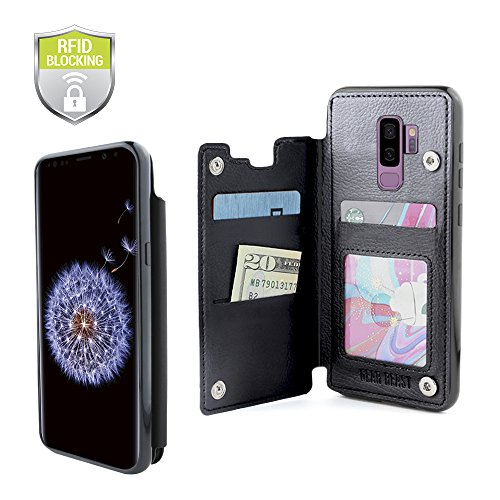 Gear Beast Lychee PU Leather Protective Top View Slim Wallet Case Fits Galaxy S9 Plus Includes Flip Folio Cover, with Three Card Slots Including Transparent ID Holder Blk Leather Like Cover