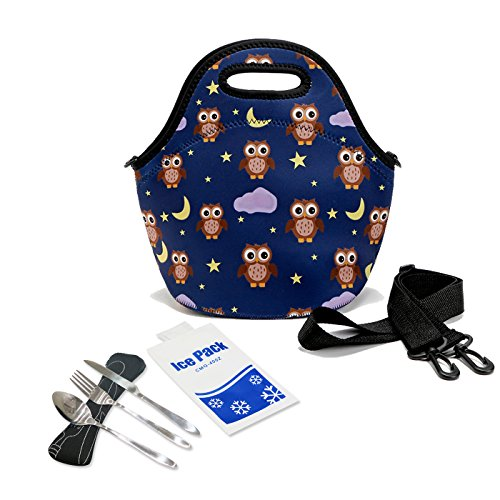 [HOMEASY Neoprene Insulated Lunch Bag Thermal Lunch Tote Picnic Cooler Bag for Camping, Beach, Office and School (Owl)] (Packable Expandable Bags Travel Accessories)