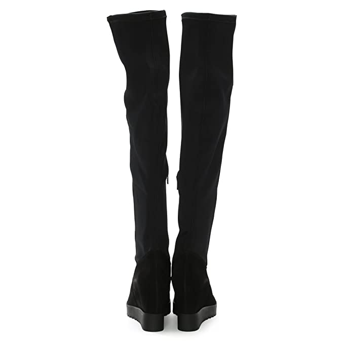 631af106cc3 Daniel Diggidy Black Suede Over The Knee Wedge Boots 41 Black Suede   Amazon.co.uk  Shoes   Bags