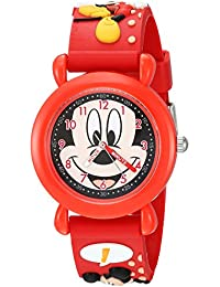 Boy's 'Mickey Mouse' Quartz Plastic Casual Watch, Color:Red (Model: WDS000392)