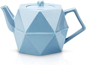 Toptier Ceramic Teapot, Porcelain Tea Pot with Stainless Steel Infuser, Blooming & Loose Leaf Teapots, 34 Ounce (1000 ml) - Blue Diamond