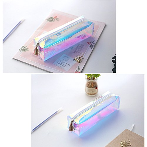 Laser Bleistift Fall Super Big Kapazität liefert Stationery Geschenk Cute transparent Federmäppchen Box Quaste Make-up-Tasche Normal grün grün 9z4ueNf
