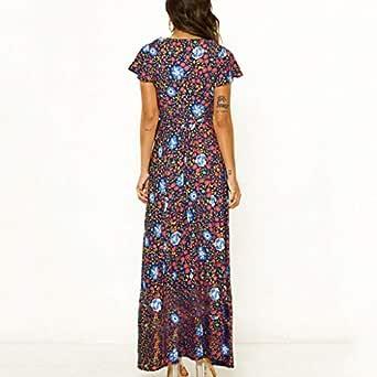 VEMOW Vestido de Mujer Bohemio Largo Verano con Cuello de ...
