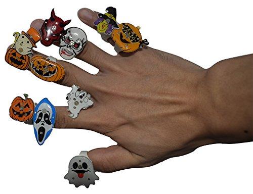 Halloween Pumpkin Bat Ghost Skull Crossbones Pirate Devil Clown Wizard 11pcs Shiny Band Ring