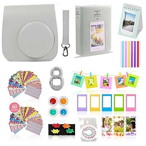 Fujifilm Instax Mini 9 Camera Accessories Bundle, Fuji 14 PC SMOKEY WHITE Kit Includes: Instax Case + Strap, 2 Albums, Filter, Selfie lens, Magnets + Hanging + Creative Frames, 60 stickers, Gift Set from Shutter