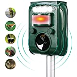 FAYINWBO Solar Ultrasonic Animal Repellenr, Outdoor Waterproof Pest Repeller, Motion Activated LED Lights Repel Animal Pests, Cats and Dogs Squirrels, Raccoons, Foxes, Mouse, Skunks, Rabbit, etc.