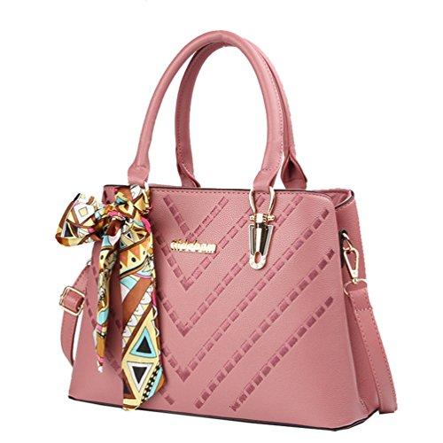 ZKOO Bolso Totalizador Mano Del De Moda Cuero Bolsas Del Mujer Hombro Bolsas Bolso PU Rosa aqaxZPWwrO