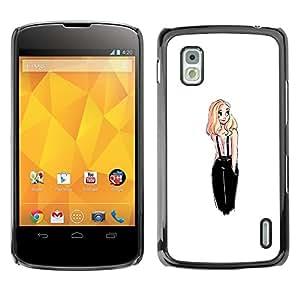 All Phone Most Case / Hard PC Metal piece Shell Slim Cover Protective Case Carcasa Funda Caso de protección para LG Google Nexus 4 E960 fashion design blonde chick white woman