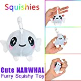 USHOT, Furry Squishies Narwhal Foamed Stuffed Slow Rising Toys Stress Relief Toy Props EWF183Y