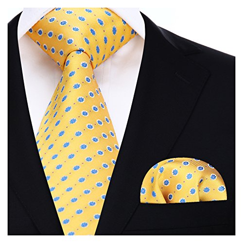 BIYINI Mens Tie Polka Dot Necktie and Pocket Square Set for Wedding Party (Blue Shirt Yellow Tie)