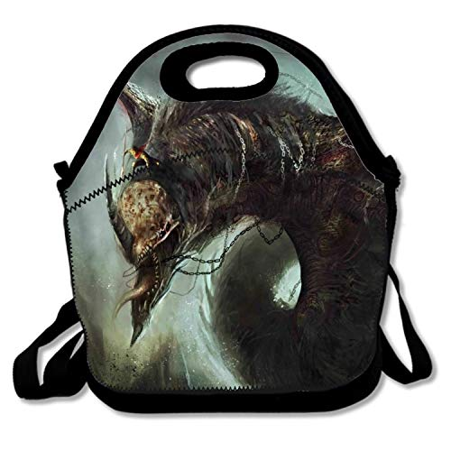 Fantasy Dragon Lunch Tote for Kids Black Lunch Box Lunch Pail