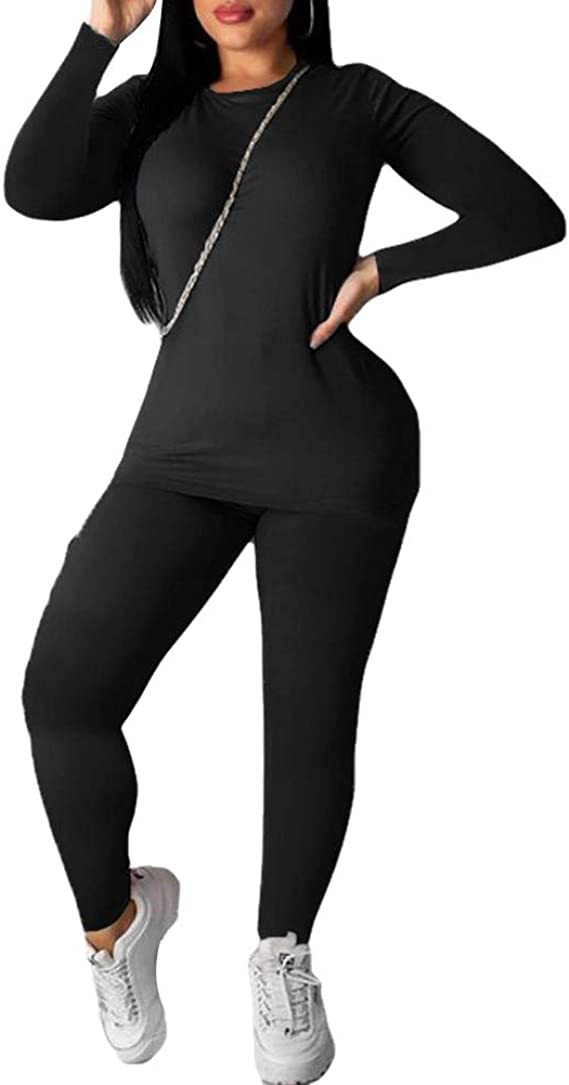 Womens Tracksuit Set 2Pcs Plus Size Sports Jogging Suit Long Sleeve Sweatshirt Pullover Bottom Casual Loungewear Joggers