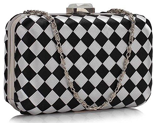 Box Design 1 Satin Black New Celebrity New White Look Hardcase Evening Check Bag Ladies Clutch Pattern Handbag Style Women raZrAwq