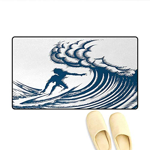 Bath Mat,Abstract Silhouette of a Surfer Riding a Big Wave Hand Drawn Style Coastal Art,Door Mats Area Rug,Blue and White,Size:16